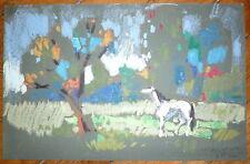 Henri Plisson pastel sur papier teinté signé cheval nature