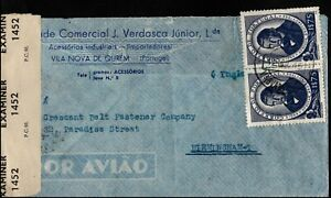 Portugal 1945 1$75 Martins Barrata Opened by examiner to UK Postal History