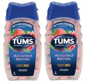 Tums Ultra 1000 Maximum Strength Assorted Berries Antacid/Calcium 2 Bottle Pack
