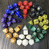 7X Polyhedral Acrylic Dungeons Dragons Dice Multiple Sides Role Playing Games P0