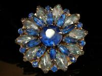 Vintage 1950's Royal Blue on Silver Tone Navette Rhinestone Flower Brooch 180S8