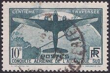 1936 FRANCE N°321 Oblitér��, 10F  Traversée aérienne Atlantique Sud B/TB