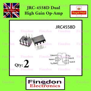 2 x JRC-4558D 4558 DUAL High Gain OP-AMP Internally Compensated IC UK Seller