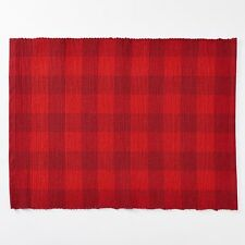 "Buffalo Check Red Black Fabric St.Nicholas Sq.13"" X 18"" Set Of 4 Placemats NEW"