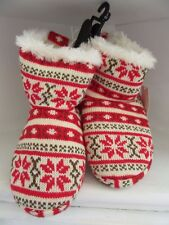 Snowflake Fur Slippers Red Fair Isle Womens Size S Pull On Warm Soft Sole Shoe