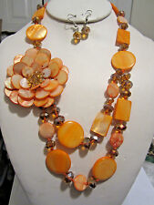 2 Layers Multi Orange Shell And Faceted Glass Bead Side Flower Necklace Earring