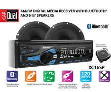 "DUAL XC16SP 1 Din Radio Stereo + 2x 6.5"" Speakers USB Bluetooth Steering Remote"