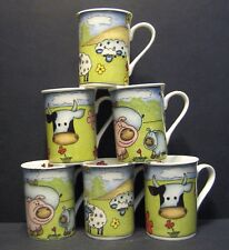 6 A SET OF SIX FINE BONE CHINA MUGS ANIMALS CUPS BEAKERS TO CLEAR
