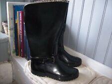 bottes de pluie neuves caoutchouc et cuir noir .t 40. (29/AZ)
