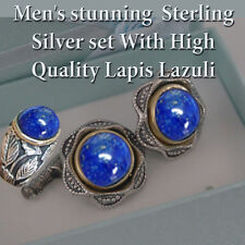 Cuff link With Ring Men's Jewelry Handmade Silver Lapis Lazuli  Vintage Style