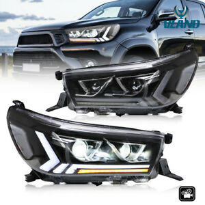 Full LED DRL Sequential Signal Head Lights For 15-19 Toyota Hilux Revo SR SR5
