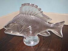 """LALIQUE """"Gros Poisson Algues"""" Glass Large Fish Statue 17""""x12"""" France Superb!"""