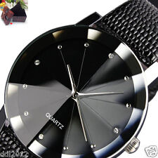 Luxury Men's Quartz Sport Military Stainless Steel Dial Leather Band WristWatch