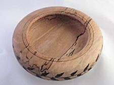 Handmade Lathe Turned Spalted Sycamore Textured and Pyrographed Bowl