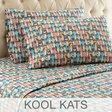 King Micro Flannel Sheets Cat Print Flat Fitted Pillowcase Soft Warm Anti Pill