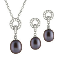 Sterling Silver pendant/chain and earrings with Black pearls and CZ NESR-109