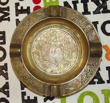 Ancien Gros Cendrier Laiton métal étang canard gravure feuille jonc plumes