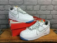 NIKE MENS UK 8.5 EU 43 AIR FORCE 1 REACT WHITE GREY LEATHER TRAINERS    EP