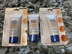 SASSY + CHIC Beauty Benefit BB Face Cream Moisturizer Makeup Variety Lot of 3