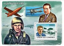 WILEY POST & CHUCK YEAGER (Bell X-1) Aviator Aircraft Stamp Sheet (2008 Comoros)