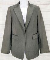 Express Stretch Blazer Sz 7 / 8 Women Charcoal Leather Trim Career Jacket