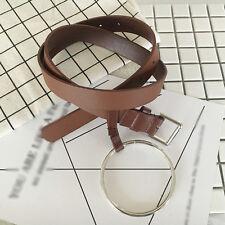 Nice.Retro Metal Ring narrow Waistband Leather Belt Hoop Fashion Waist Belt