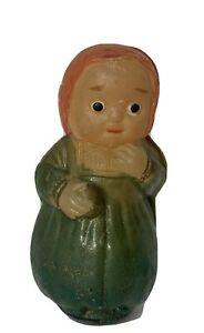 """Celluloid Roly Poly 2 3/4"""" Girl or Lady Doll Vintage Toy with sideways diamond S"""