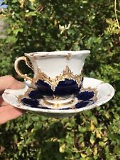 More details for 19th century meissen antique rococo style blue & gilt cup and saucer