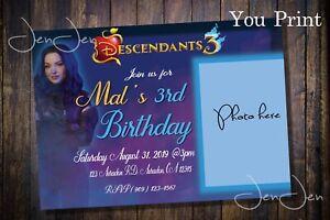 Disney Descendants 3 Mal Party Invitation (You Print)