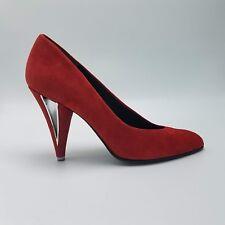 CHARLES JOURDAN Vtg Shoes | Women's Red Velour Dress Pumps | Size 7 AA Narrow