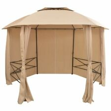 Outdoor Garden Marquee Pavilion Tent Gazebo with Curtains Hexagonal 360x265 cm