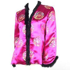 Jacke Seide Magenta Pelzbesatz China Asien Abendjacke S 36 38 Jäckchen pink