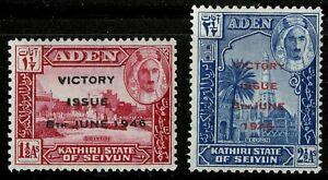 Aden - Seiyun  1946    Scott # 12-13   Mint Never Hinged Set