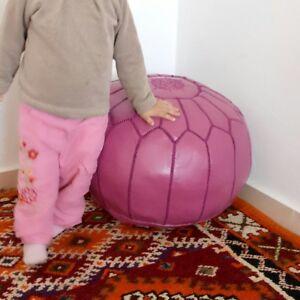 Premium Luxury Moroccan pouf Leather Ottoman nice Pouffe handmade Footstool Pink