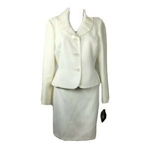 Kasper White Skirt Suit Sz 8P NWT Blazer Jacket Solid Creamy