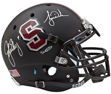 JOHN ELWAY & TIGER WOODS Hand Signed Authentic Black Stanford Helmet UDA LE 25