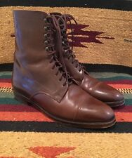 RALPH LAUREN Brown Leather Victorian Doughboy Boot Lace-Up Ankle Women's 9 AA