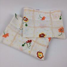 VTG Pillowcases Pair Set Cannon Monticello Mod Floral Squares Brown Orange Bed
