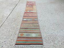 Old Turkish narrow Kilim Runner, shabby chic, vintage country home decor kelim