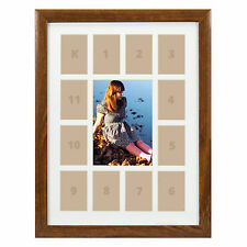 "Craig Frames, 12x16"" Brown Picture Frame, White Collage Mat with 13 Openings"