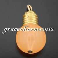 10 pcs Orange Resin Light Bulb Craft Pendant Charms 24x13mm DIY Jewelry Findings