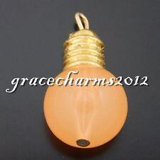 10 pcs Orange Resin Light Bulb Craft Pendant Charms 24x13mm DIY Jewelry Findings