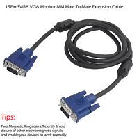 6FT 15 PIN BLUE SVGA VGA ADAPTER Monitor M/M Cable CORD FOR PC TV