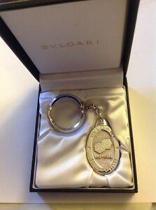 BVLGARI Bulgari Sterling Silver Las Vegas Oval Dice Keychain Key Fob NIB New
