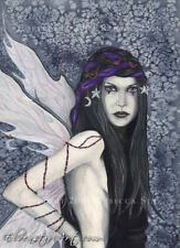 Gothic FAIRY Fantasy Art ORIGINAL PAINTING night blue Moon Stars Luna Celestial