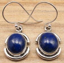 "Real LAPIS LAZULI Gemstone Earrings 1.3"" ! Silver Plated Online Jewelry"