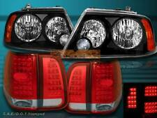 03 04 05 06 LINCOLN NAVIGATOR HEADLIGHTS JDM BLACK + LED TAIL LIGHTS RED