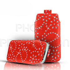 Diamante Bling piel lengüeta Piel Funda Bolsa Para Varios Telefonos Samsung
