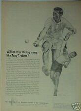 1964 Tony Trabert Tennis Player Art Photo Equitable Ad