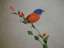 Painted Bunting Original Bird Wood Carving